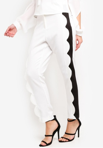 Lavish Alice white Scallop Contrast Trousers 3D21BAA892E8E7GS_1