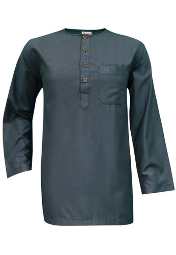 SULTAN grey SULTAN KURTA - GALAXY - ROUND NECK FULL SLEEVES B76E6AA7874028GS_1