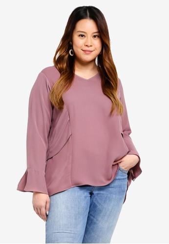 Ex'otico pink Plus Size Long Sleeve V-Neck Layer Blouse EB843AAED8E659GS_1