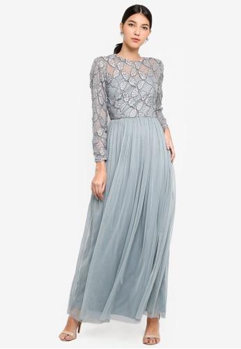 b94b03202ea Shop Little Mistress Grey Embellished Maxi Dress Online on ZALORA ...