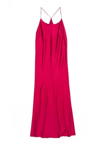 ZITIQUE red Satin Open Back Solid Suspender Sleepwear-Red C2951USA0345C8GS_1