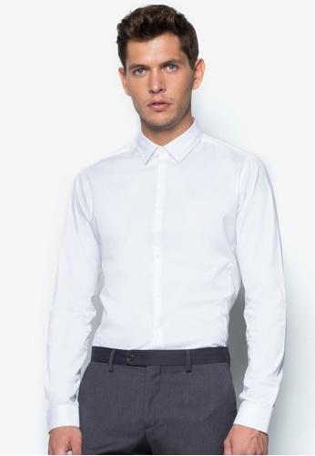 Topman 白色 White Long Sleeve Stretch Smart Shirt TO413AA21UBAMY_1