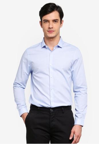 Burton Menswear London 藍色 藍色 緊身Fit 襯衫 159E5AA018AAC0GS_1