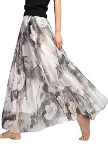 Twenty Eight Shoes grey VANSA Floral Chiffon Long Skirt VCW-Sk1136.11 76248AA402F2F2GS_1