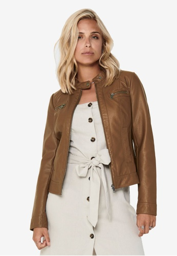 ONLY brown Bandit Faux Leather Biker Jacket 227C2AAE6ACDADGS_1
