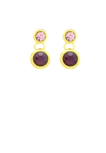 Glamorousky silver Charming Earrings with Purple Austrian Element Crystals AF376ACC290AD1GS_1