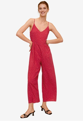 Mango red Long Printed Jumpsuit B6FCDAA91689A3GS_1