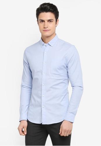 Topman blue Muscle Fit Oxford Shirt D4FB9AA70698F9GS_1
