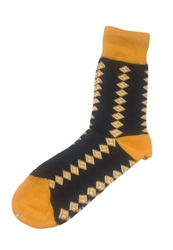 Splice Cufflinks Allotropes Series Yellow and Dark Blue Socks SP744AA31PEQSG_1