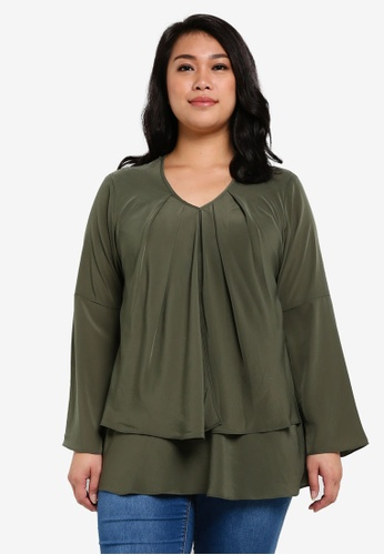 Ex'otico green Plus Size Long Sleeve Double Layer Blouse EX373AA0RUVBMY_1