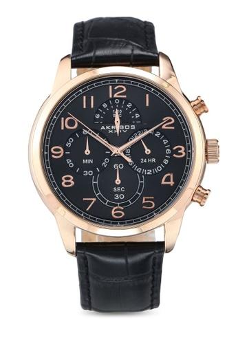 Akribos XXIV black Chronograph Leather Watch 50B3CAC6074C26GS_1