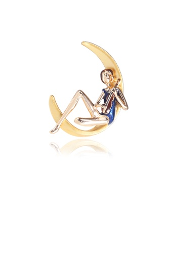 Glamorousky silver Fashion Creative Plated Gold Moon Playing Boy Brooch 4C9FBACB0D1AD8GS_1