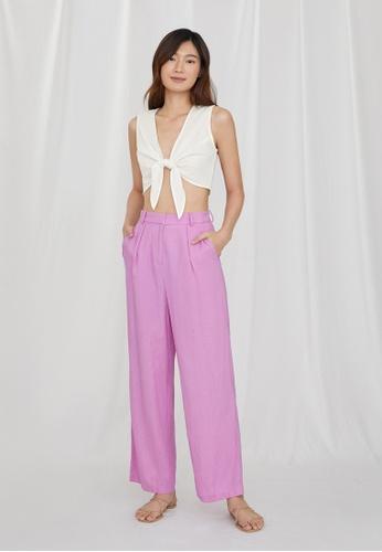 Pomelo purple Purpose Wide Leg Pleated Pants - Purple 96ADDAA2A759D0GS_1