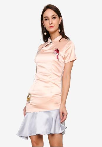 Megane pink Red Romance Galina Mandarin Collar Dress 02BF0AAEABC12DGS_1
