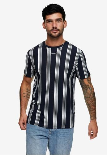 Topman navy Stripe T-Shirt D405AAA4C6D0FDGS_1