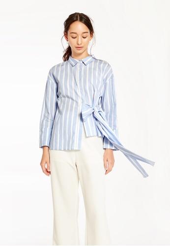 Pomelo blue Raina Bow Tie Shirt 8F881AA60FB336GS_1