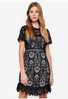 9c989123 Forever New navy Austin Fit And Flare Lace Dress 75BFFAA17BF02EGS_1