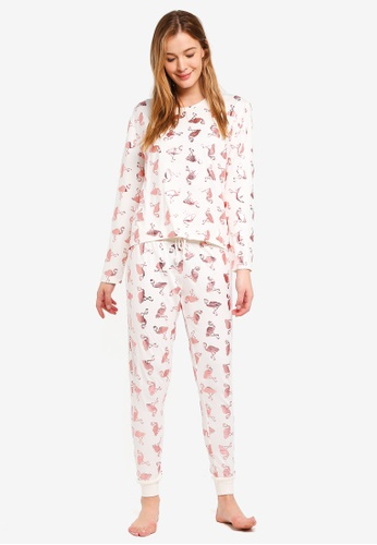 Chelsea Peers white Rose Gold Foil Flamingo Long PJ Set DE405AA9AA1241GS_1