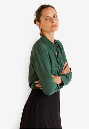 Mango green Pockets Flowy Shirt C67A1AA83BB89BGS_1