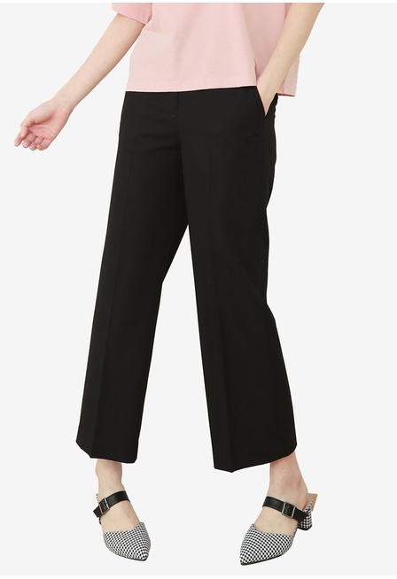 nude-petite-black-double-layer-georgette-pants-young