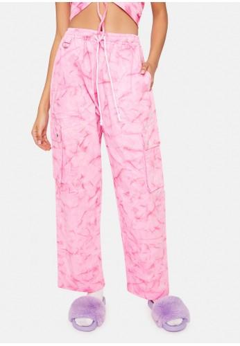 Cute Mistake pink Tie Dye Cargo Pants - HotPink DB32AAA8E06353GS_1