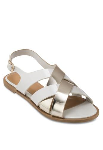 CHROMO 亮面交叉繞踝涼鞋, 女鞋, esprit香港分店地址涼鞋
