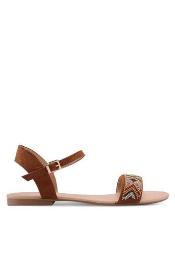 Dorothy Perkins brown Tan Fliss Beaded Sandals 74C4DSH95C387BGS_1