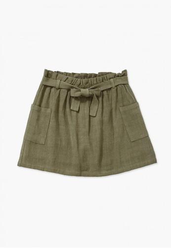 FOREVER 21 green Line Linen Skirt 0CBD6KAEA0E656GS_1