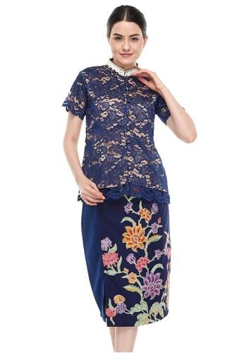 MADAME RABBIT blue and navy Brocade Lace Navy & Encim Skirt ( 1 set ) 1DA3BAA7F34B33GS_1