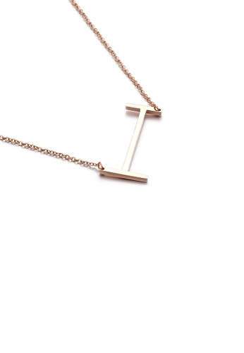 Glamorousky silver Fashion Simple Plated Rose Gold English Alphabet I 316L Stainless Steel Pendant with Necklace 6A571AC5C89644GS_1