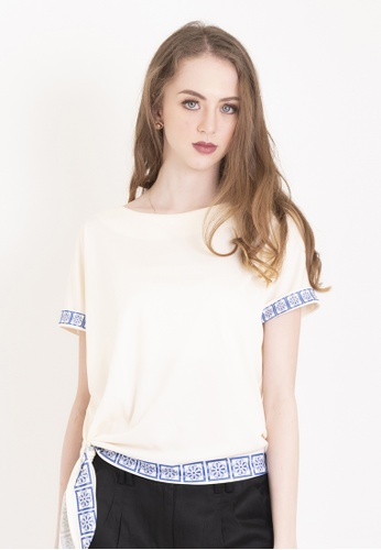 Chain white Off White/ Cream Ava Blouse With Side Knot And Chinoiserie Print 0B0D0AA4D84D33GS_1
