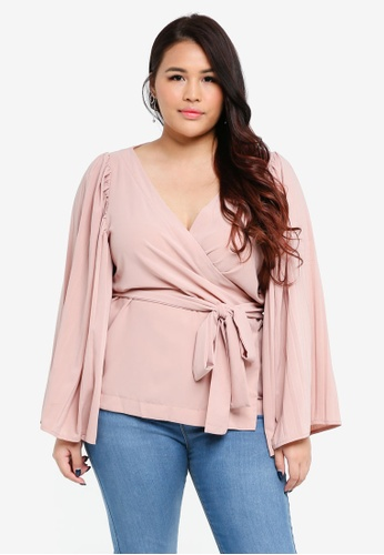 ELVI pink Plus Size The Luster Wrap Top With Pleated Sleeves 223CFAA72B7F49GS_1