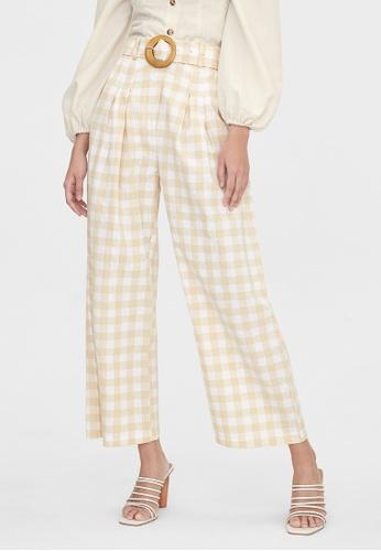 Pomelo beige Purpose Gingham Belted Pants - Beige 01D6BAAB6F34E9GS_1