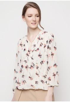 Over-Lap Floral Print Blouse