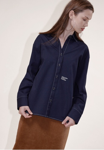 OUTSTANDING ORDINARY navy Sunday Stitch Shirt OU203AA0GJ8MSG_1