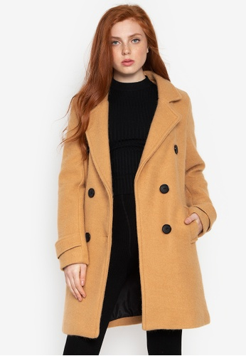 Well Suited brown Double Breated Wool Short Trench C22D3AA26AAC6BGS_1