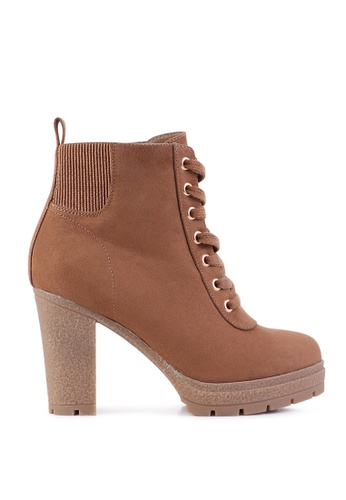 London Rag brown High Heel Lace up Boots BC7BDSHFB845A3GS_1
