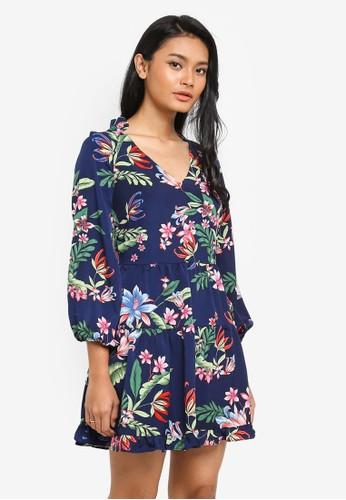 Preen & Proper multi Long Sleeve V-Neck Dress 8A219AA6F15F70GS_1