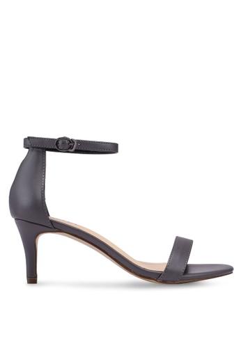 Velvet grey Ankle Strap Heels 524D0SH94D017FGS_1
