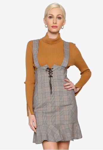 Hopeshow brown Plaid Suspender Dress 764ECAA93D2B4AGS_1