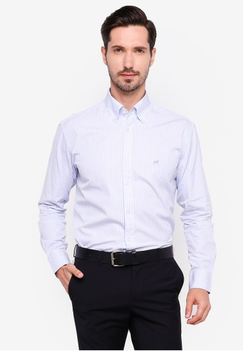 Sacoor Brothers blue Regular fit 120's double luxury cotton shirt 53E69AA718FA20GS_1
