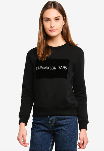 Calvin Klein black A-Institution Flock Box Sweatshirt - Calvin Klein Jeans F4A3CAA0AC8002GS_1