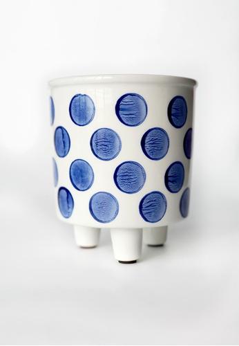 Your Lagom white and blue Dot Leg Planter Pot 3752AHLF5610E5GS_1