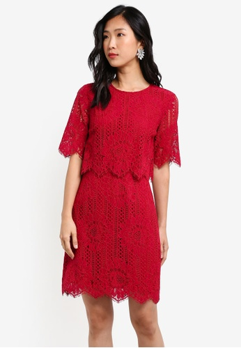 ZALORA red Double Layer Pencil Dress F5458AA31552BFGS_1