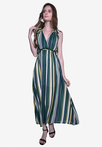Caoros green Striped Deep V-Neck Grecian Inspired Dress 77955AAF09141AGS_1