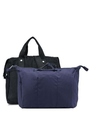 Bagstationz black Water Resistant Travel Bag Set 2B4FAACADAE7E3GS_1