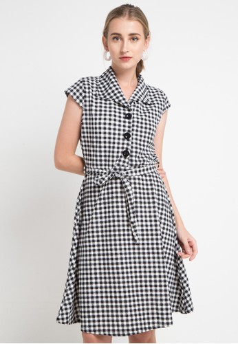 SIMPLICITY black and white Checked Mini Dress 6CFDFAAEE1C54CGS_1