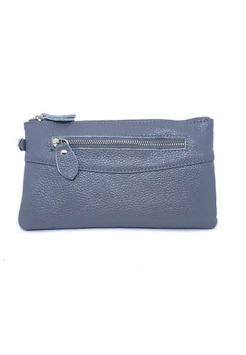 BELLE LIZ grey Zipper Design Leather Clutch Purse Grey B5C5EAC153A998GS_1