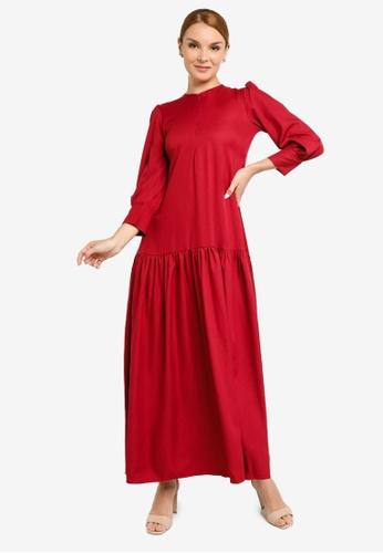 REALFANTASY red Inaya Dress Maroon 5D5B8AA351741BGS_1
