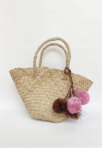 Sekouwit brown Gardenia Sisal Bucket Bag with Pom Pom and Tassel in Pink and Brown BE898ACB2233D1GS_1